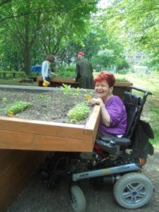 Frau im Rollstuhl an einem Hoch-Beet.