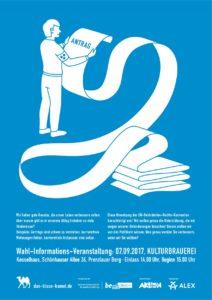 """Plakat der Wahl-Informations-Veranstaltung """"Das blaue Kamel"""""""