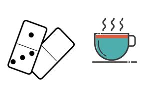 Grafik mit Domino-Steinen und einer dampfenden Tasse.