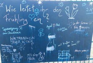 Foto der Tafel mit Fragestellung: wie leitet ihr den Frühling ein?